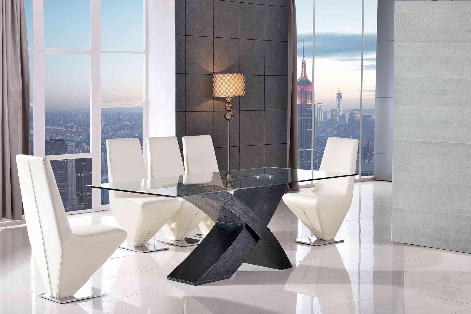 Valencia Black 160cm Wood and Glass Dining Table with 6 Rita Designer Dining Chairs [Ivory]
