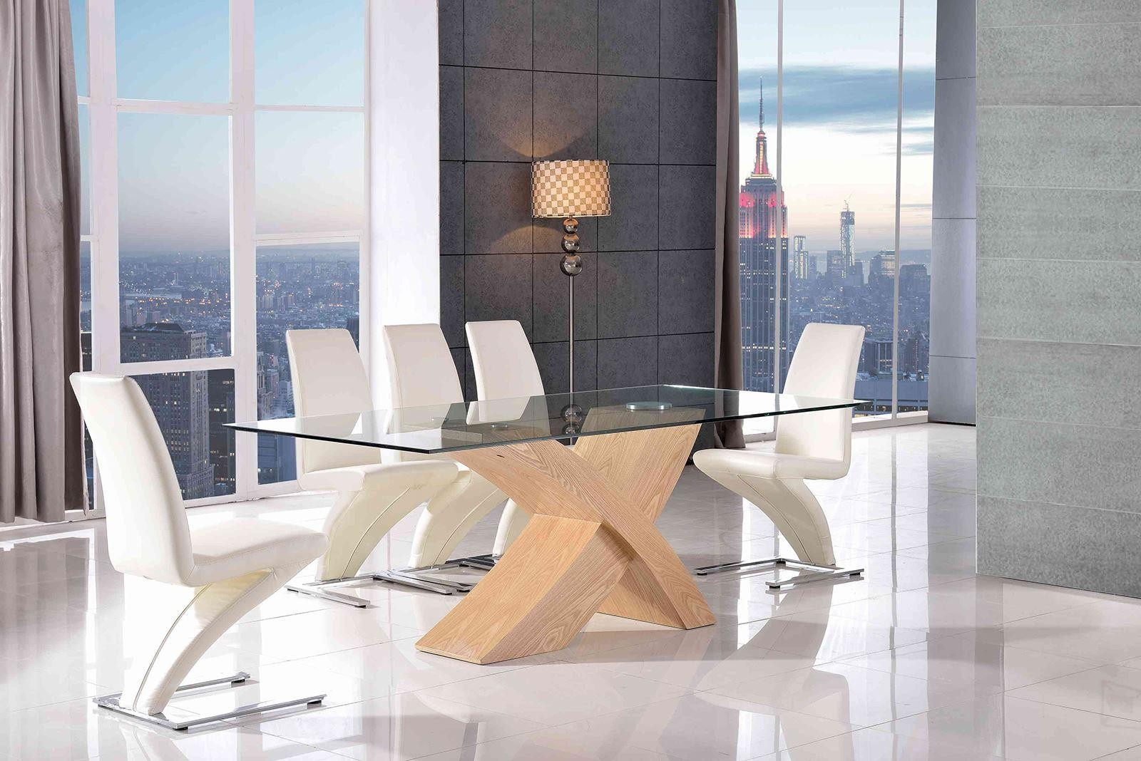 Valencia Black 200cm Wood and Glass Dining Table with 6 Zed Designer Dining Chairs [Ivory]