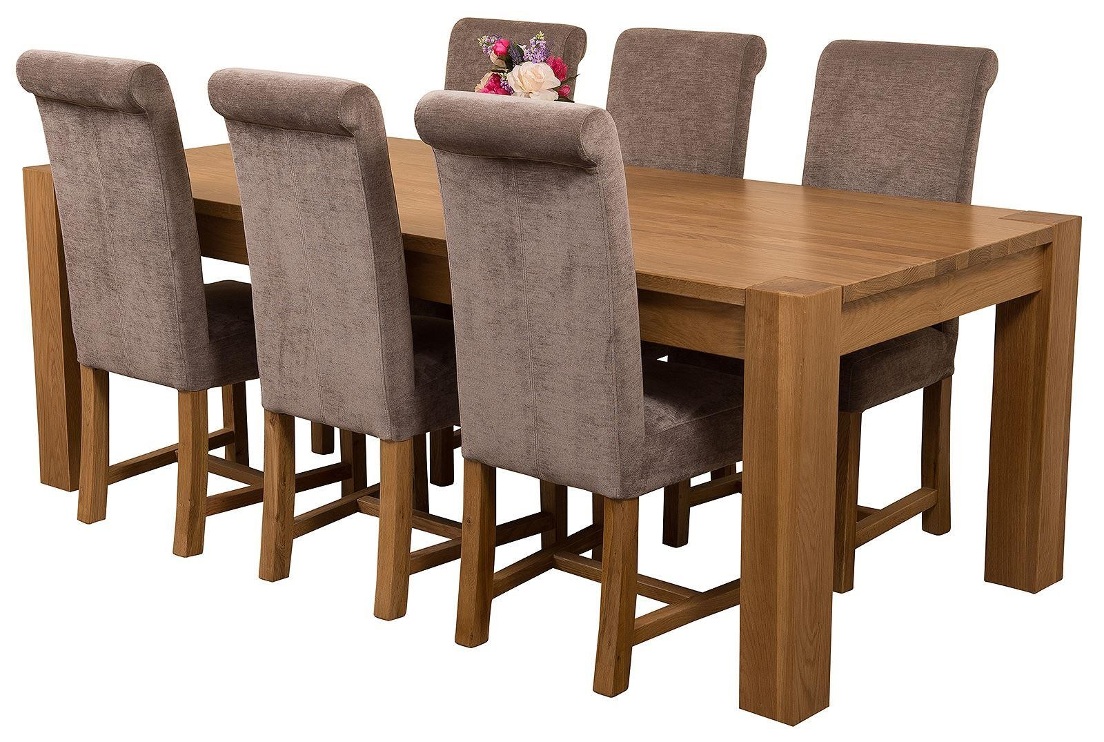 Kuba Solid Oak 220cm Dining Table with 6 Washington Dining Chairs [Grey Fabric]