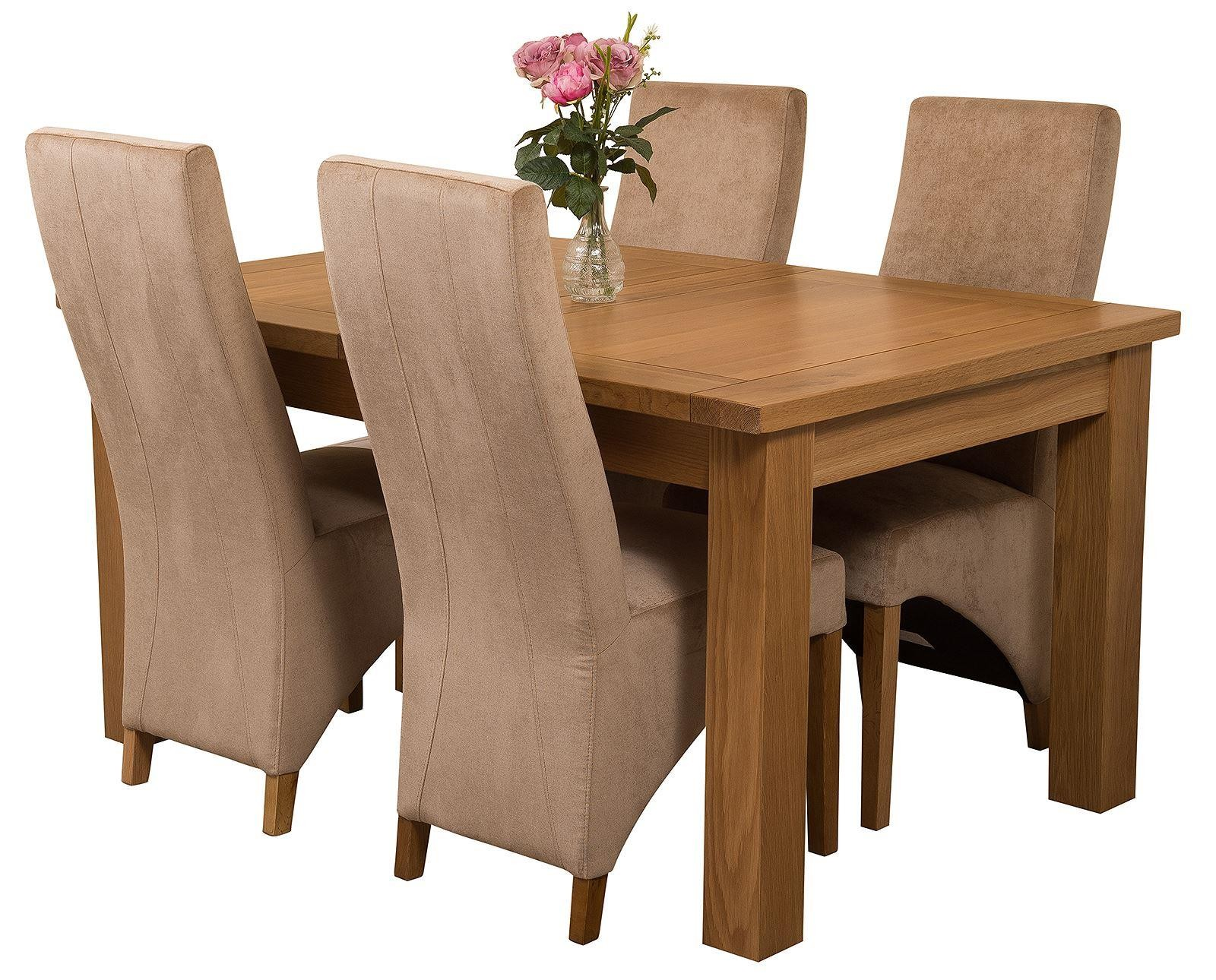 Seattle Solid Oak 150cm-210cm Extending Dining Table with 4 Lola Dining Chairs [Beige Fabric]