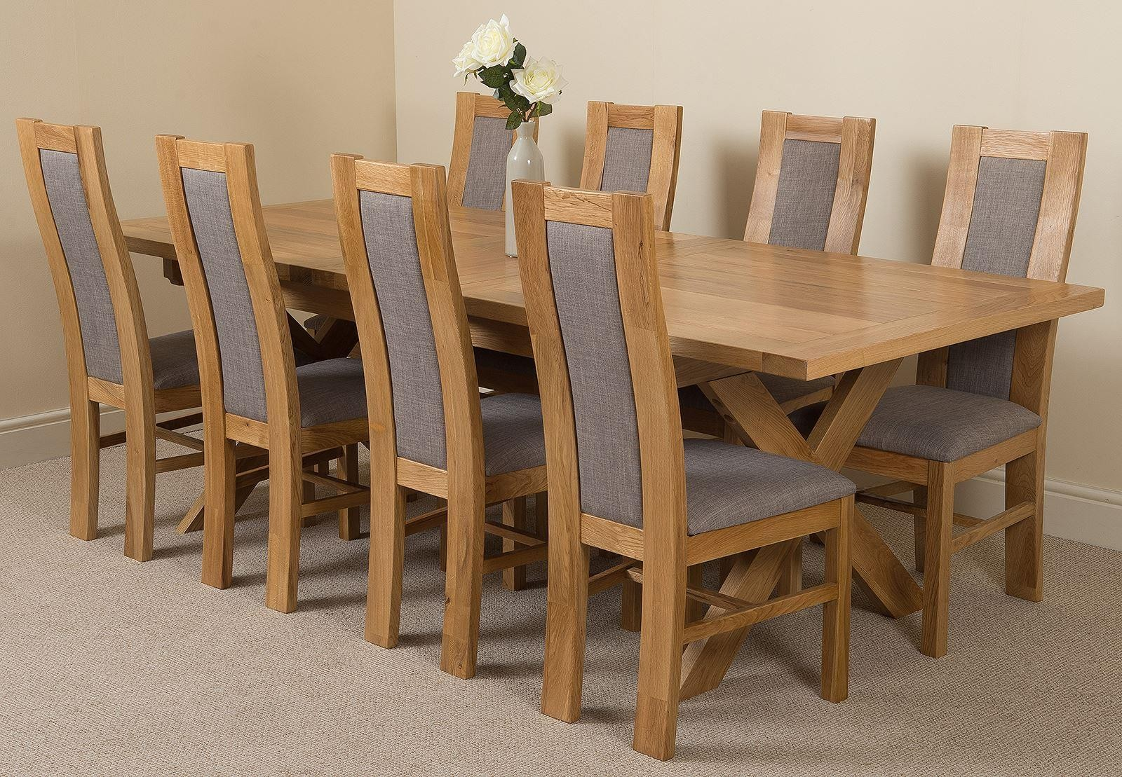 Vermont Solid Oak 200cm-240cm Crossed Leg Extending Dining Table with 8 Stanford Solid Oak Dining Chairs [Light Oak and Grey Fabric]