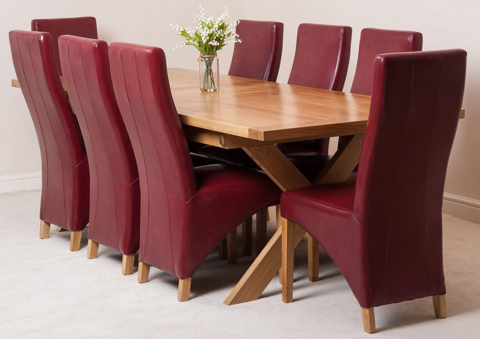 Vermont Solid Oak 200cm-240cm Crossed Leg Extending Dining Table with 8 Lola Dining Chairs [Burgundy Leather]