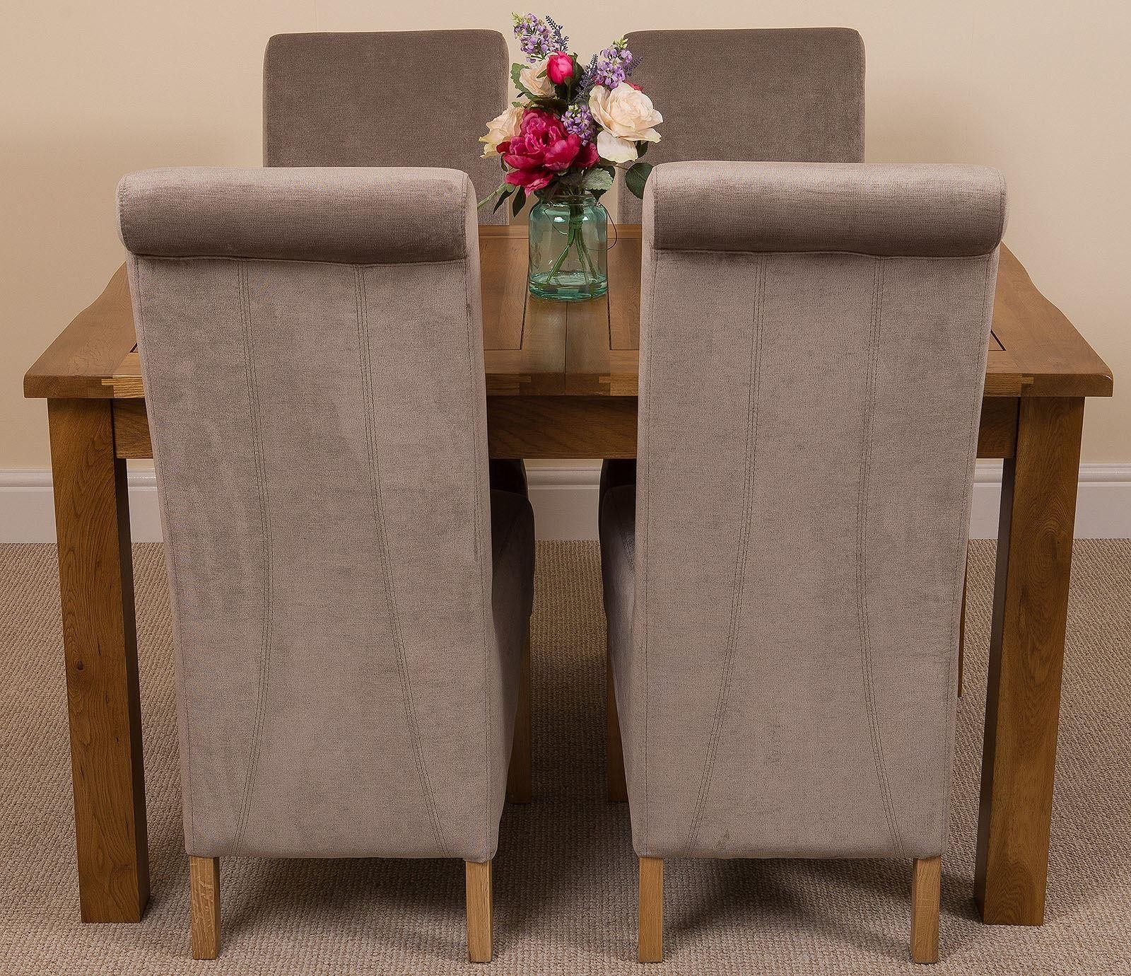 Cotswold Rustic Solid Oak 132cm-198cm Extending Farmhouse Dining Table with 4 Montana Dining Chairs [Grey Fabric]
