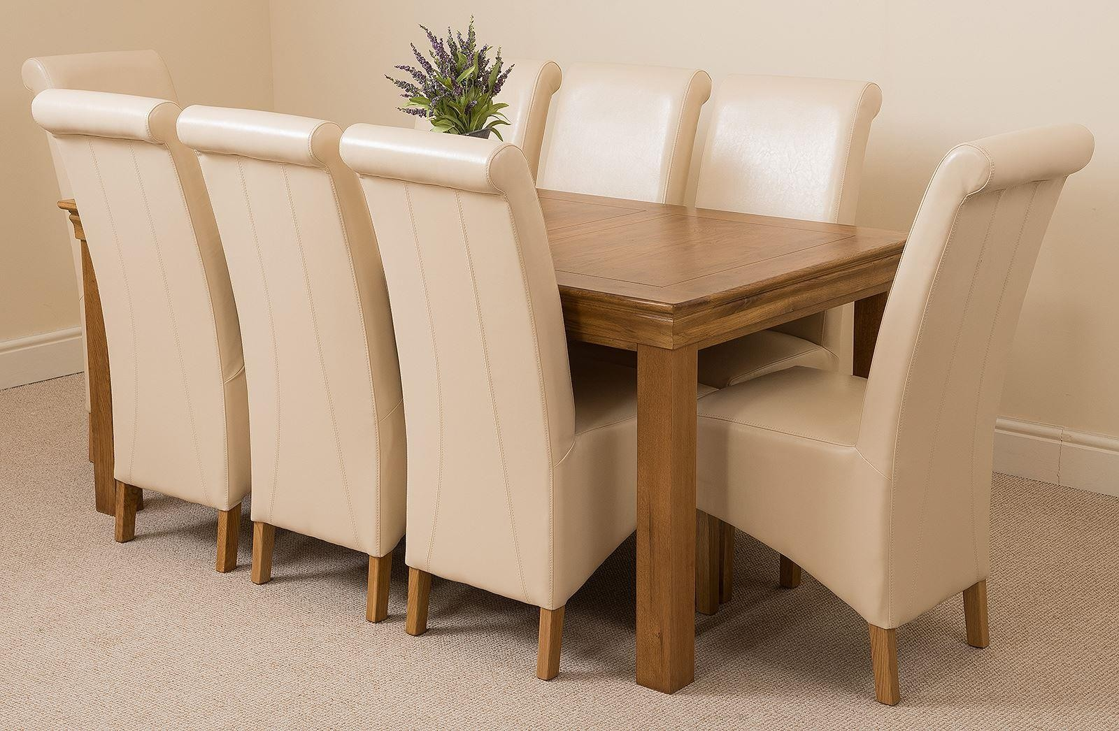 French Chateau Rustic Oak Dining Table With 8 Ivory Montana Dining