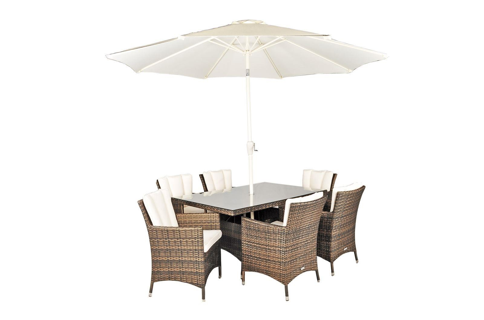 Savannah Rattan Garden Furniture [6 Seat Dining Set with Rectangular Table]