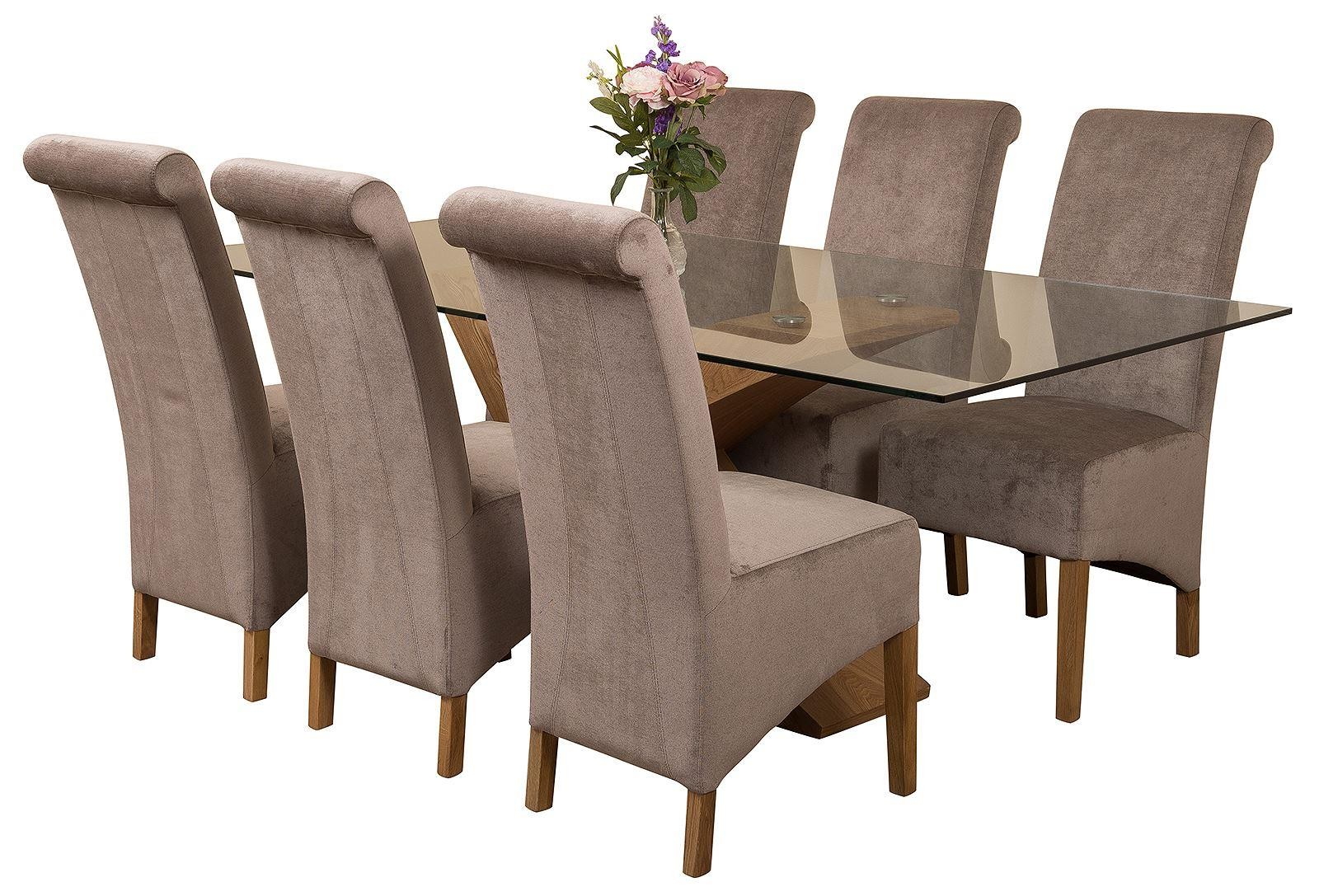 Valencia Oak 200cm Wood and Glass Dining Table with 6 Montana Dining Chairs [Grey Fabric]