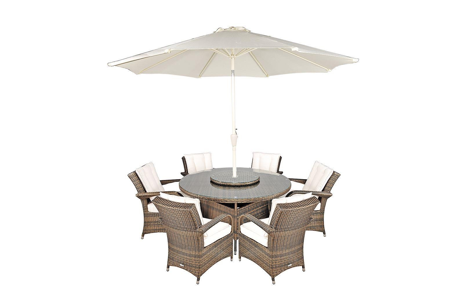 Arizona Rattan Garden Furniture [6 Seat Dining Set with Round Table]