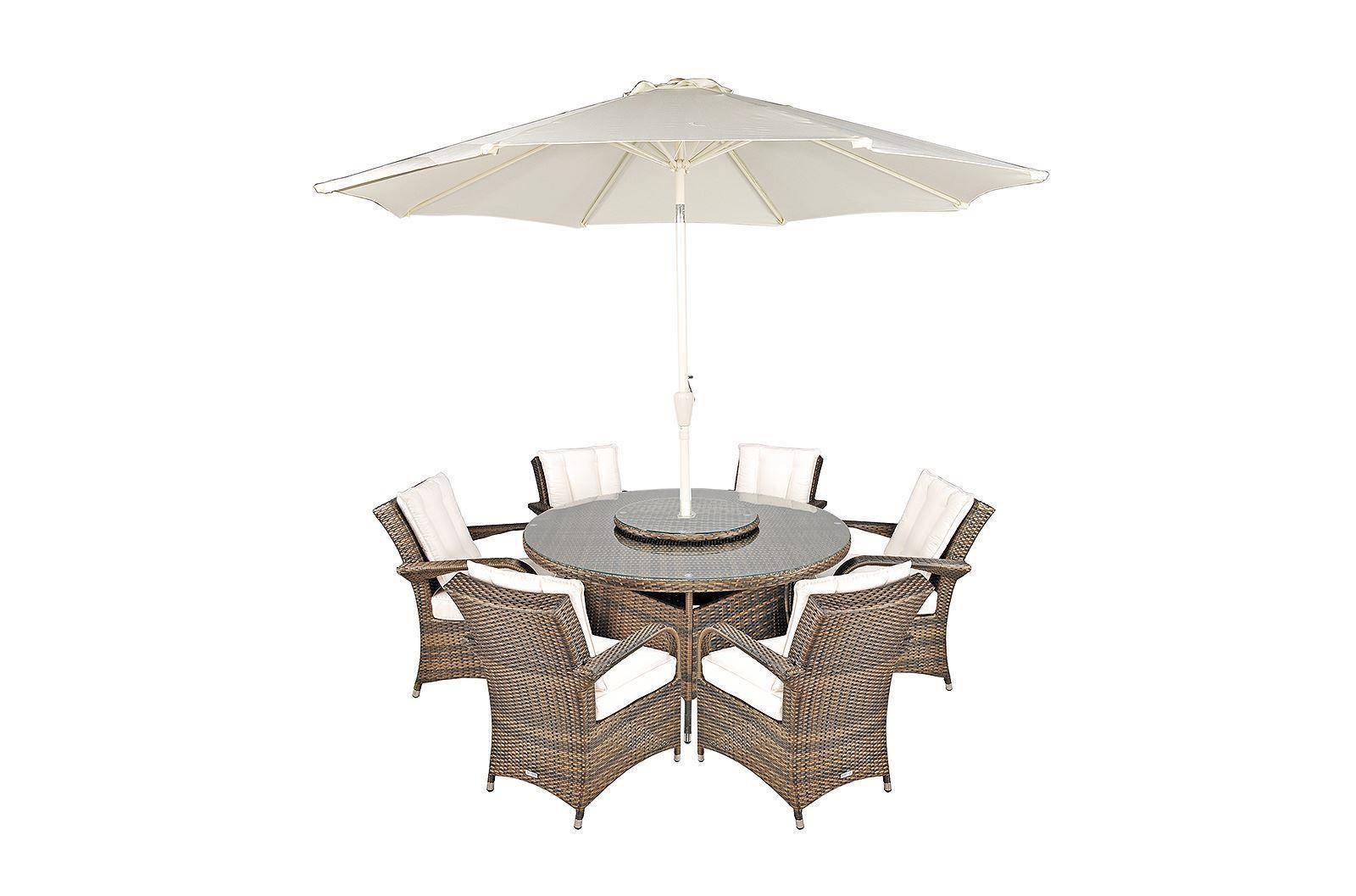 Arizona Rattan Garden Furniture [6 Seat Dining Set with Round Table]
