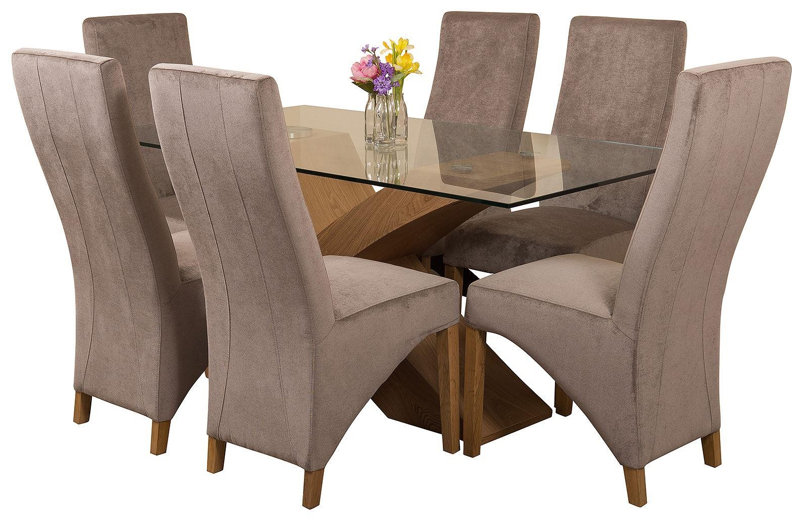 Valencia Oak 160cm Wood and Glass Dining Table with 6 Lola Dining Chairs [Grey Fabric]