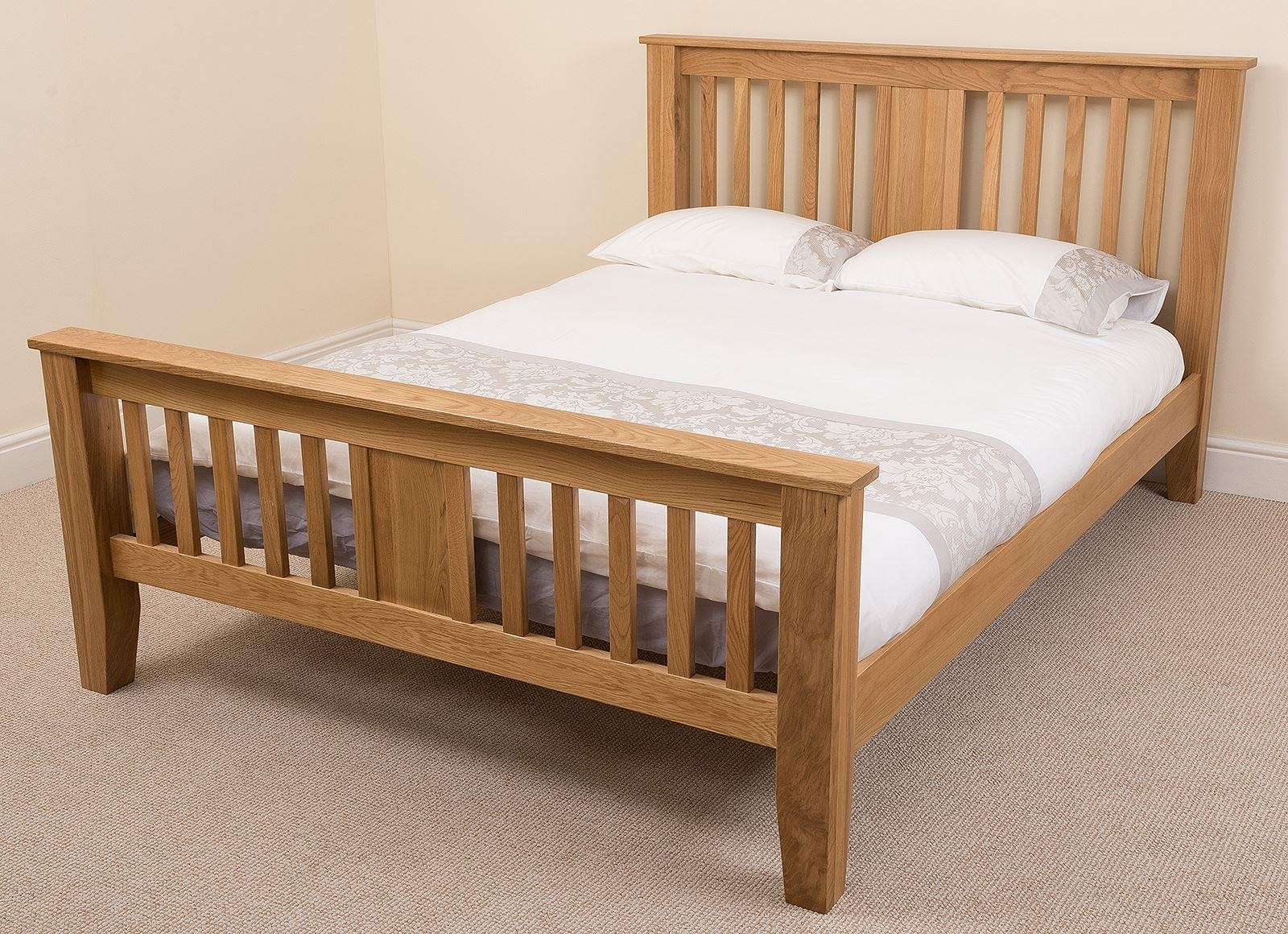 Boston Solid Oak 4ft6 Double Bed Frame