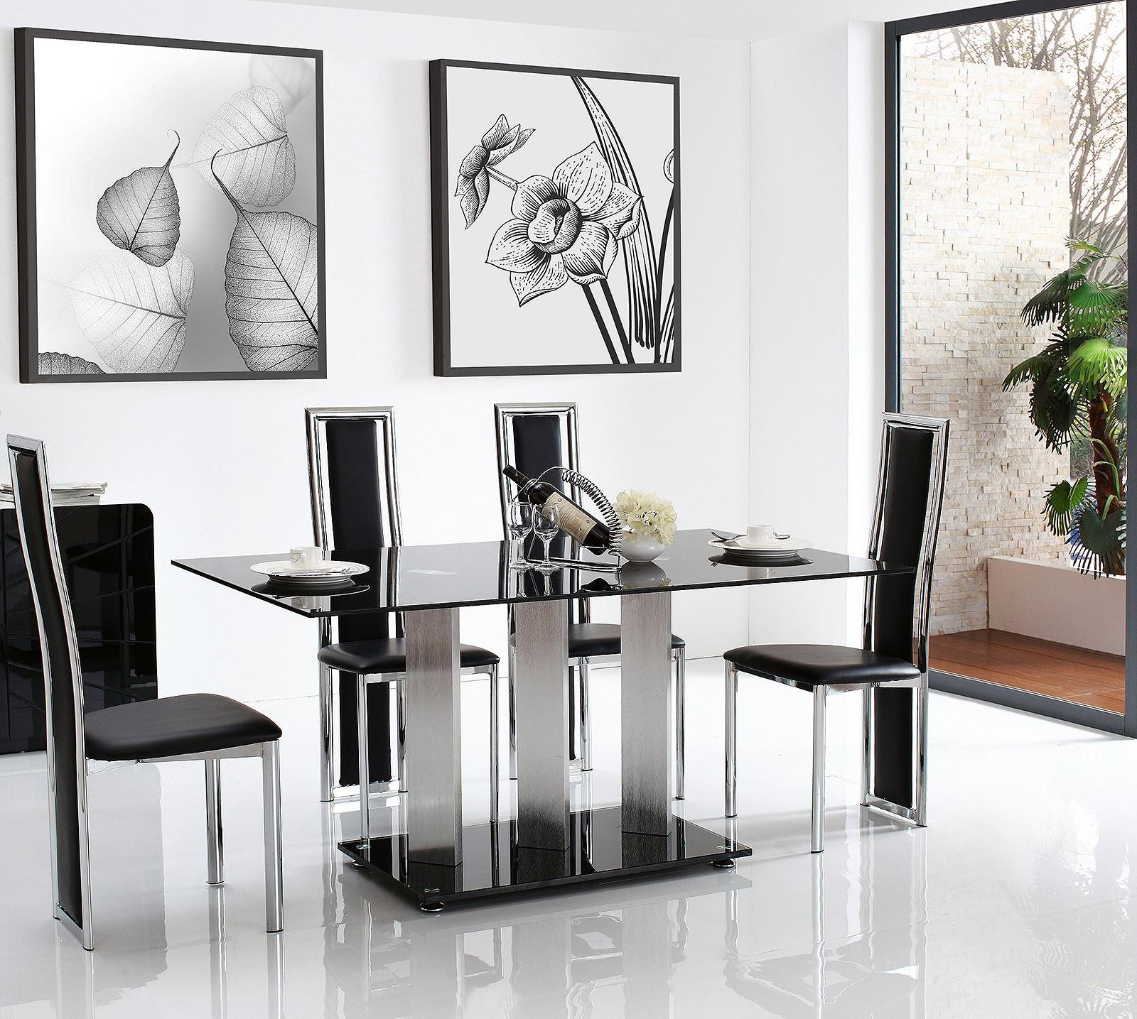 Vienna Black Glass Dining Set With 6 Black Elsa Chairs