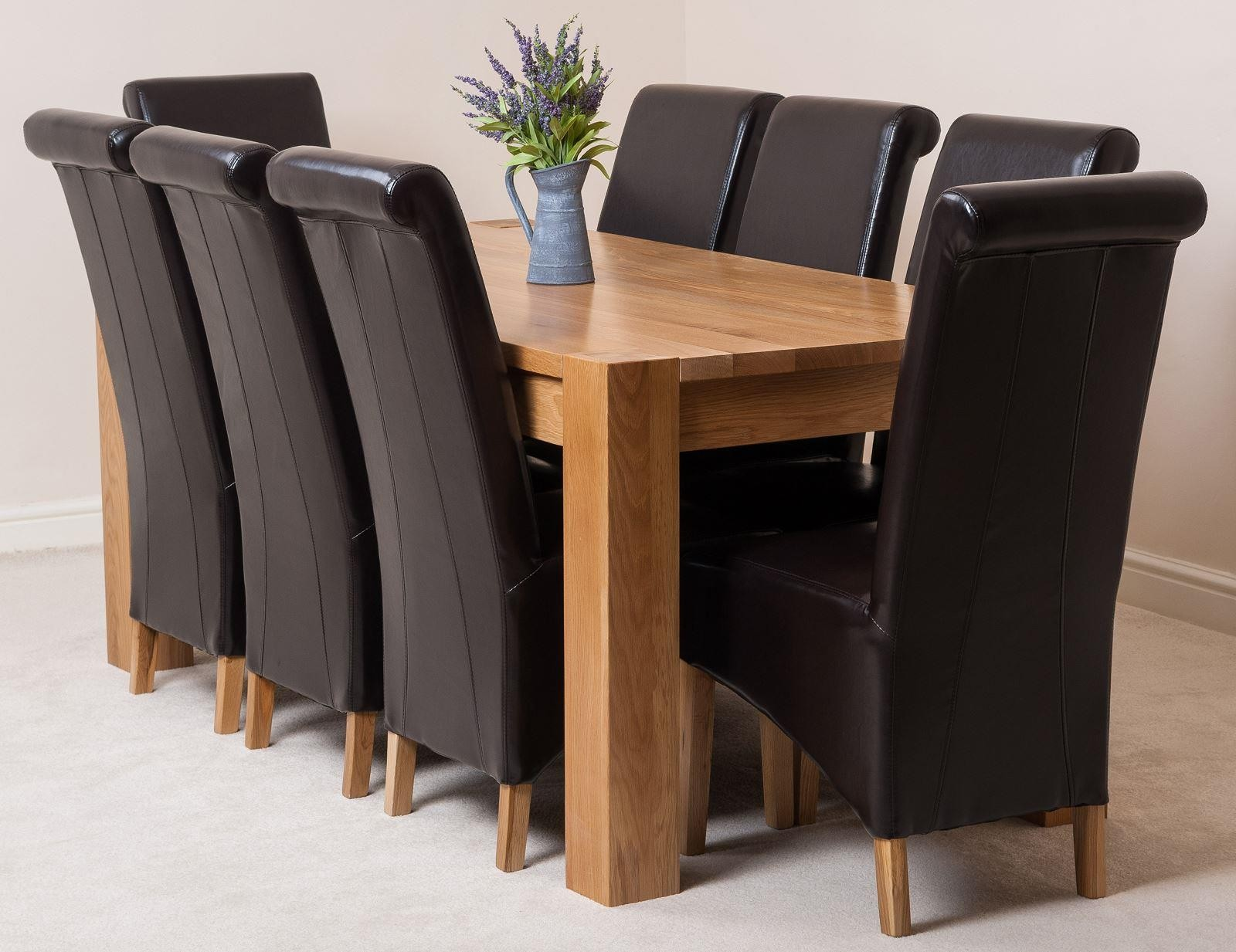 facef62e0f Kuba Solid Oak 180cm Dining Table with 8 Montana Dining Chairs [Brown  Leather]