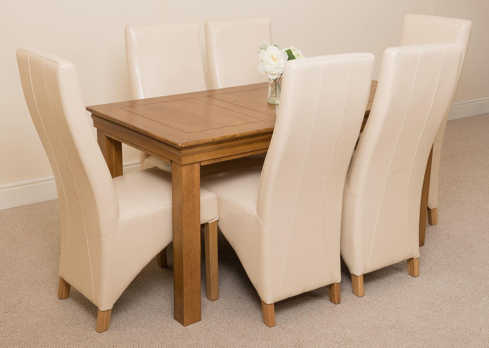 French Chateau Rustic Solid Oak 150cm Dining Table with 6 Lola Dining Chairs [Ivory Leather] & French Chateau Rustic Oak Dining Table with 6 Ivory Lola Dining Chairs