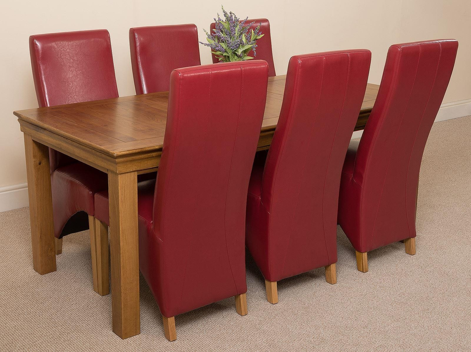 French Chateau Rustic Solid Oak 180cm Dining Table with 6 Lola Dining Chairs [Burgundy Leather] & French Chateau Rustic Oak Dining Table with 6 Burgundy Lola Dining ...