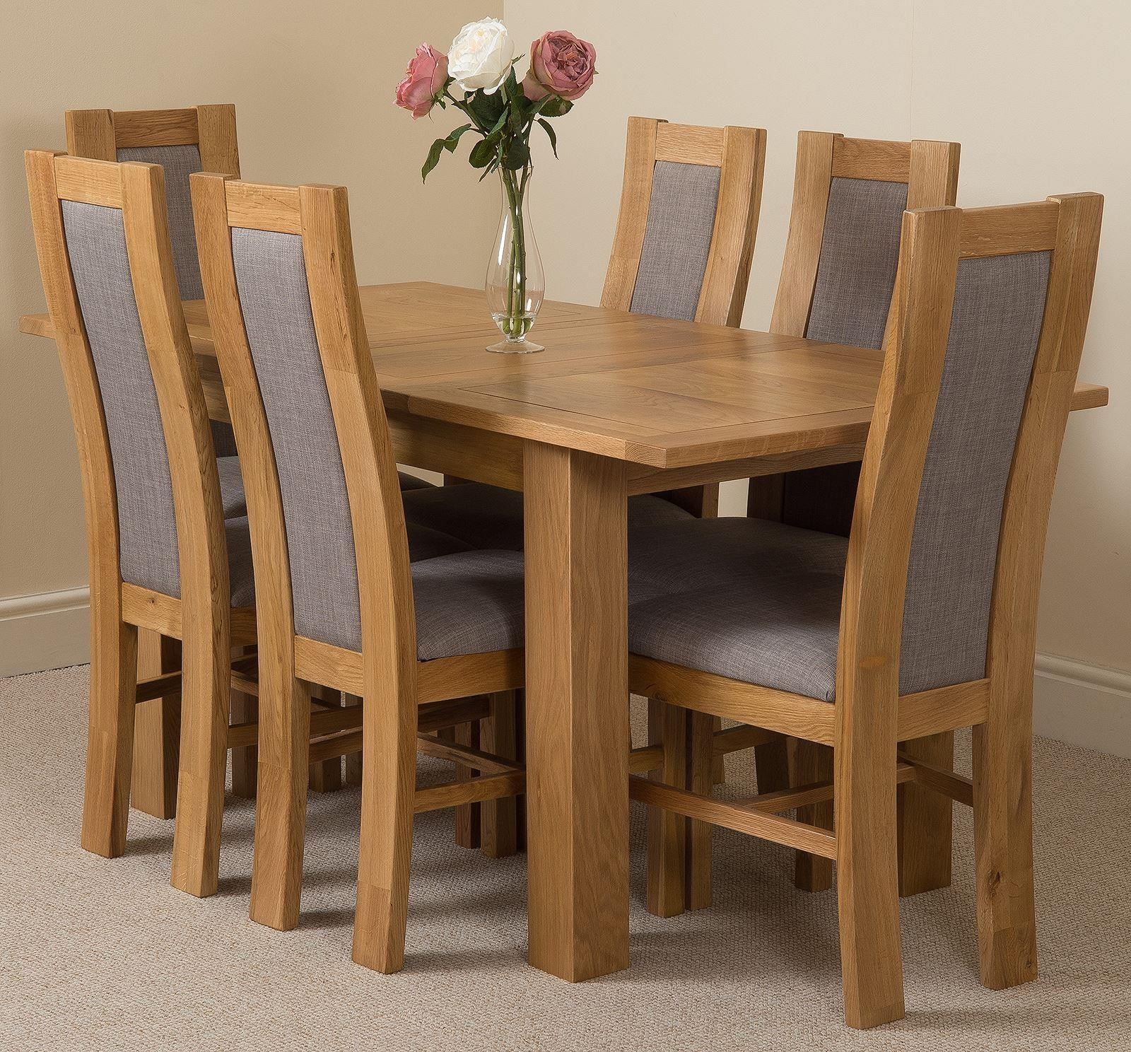 Hampton Solid Oak 120-160cm Extending Dining Table with 6 Stanford Solid Oak Dining Chairs [Light Oak and Grey Fabric]