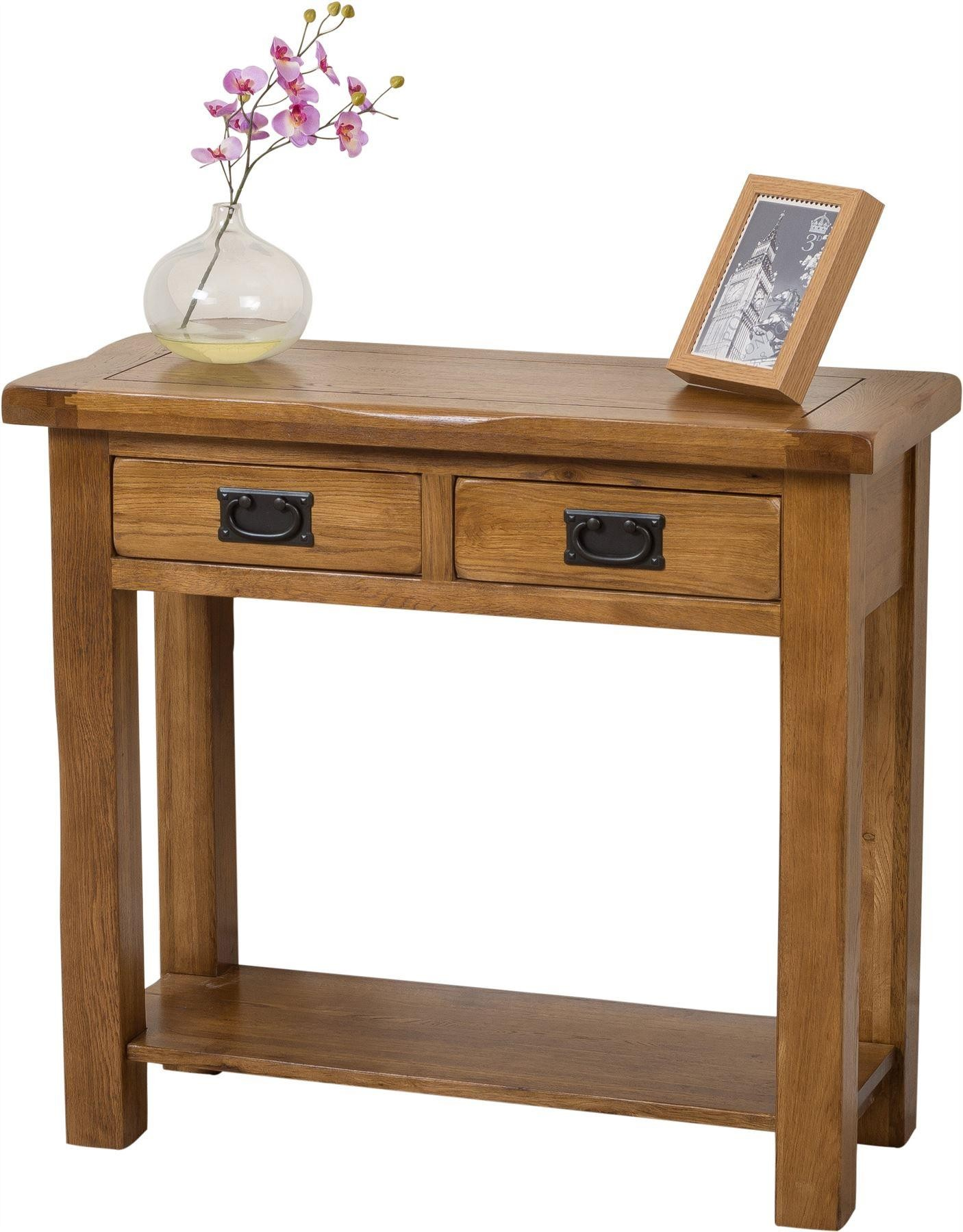 Cotswold Rustic Solid Oak Console Table