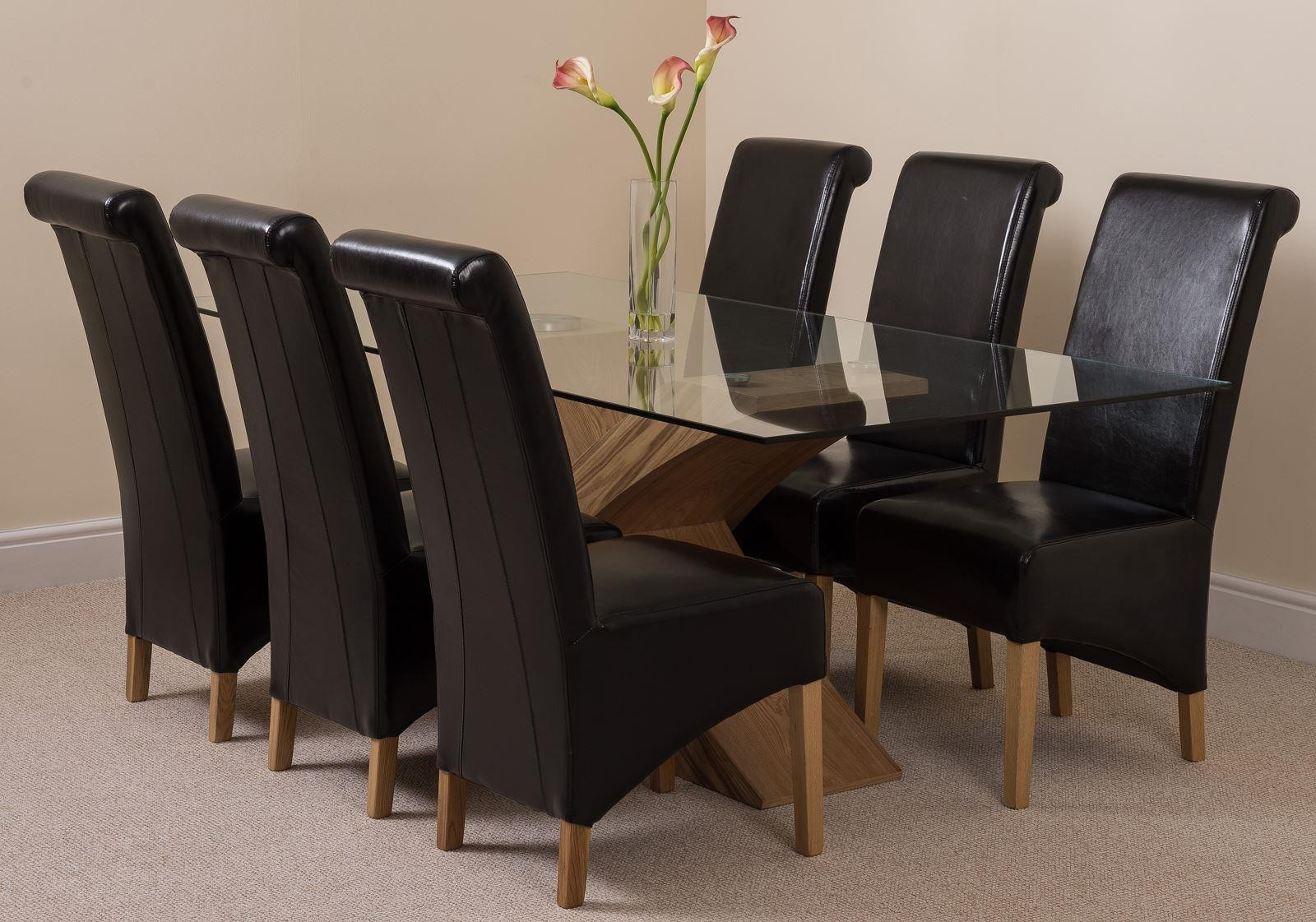 Valencia Oak 200cm Wood and Glass Dining Table with 6 Montana Dining Chairs [Brown Leather]