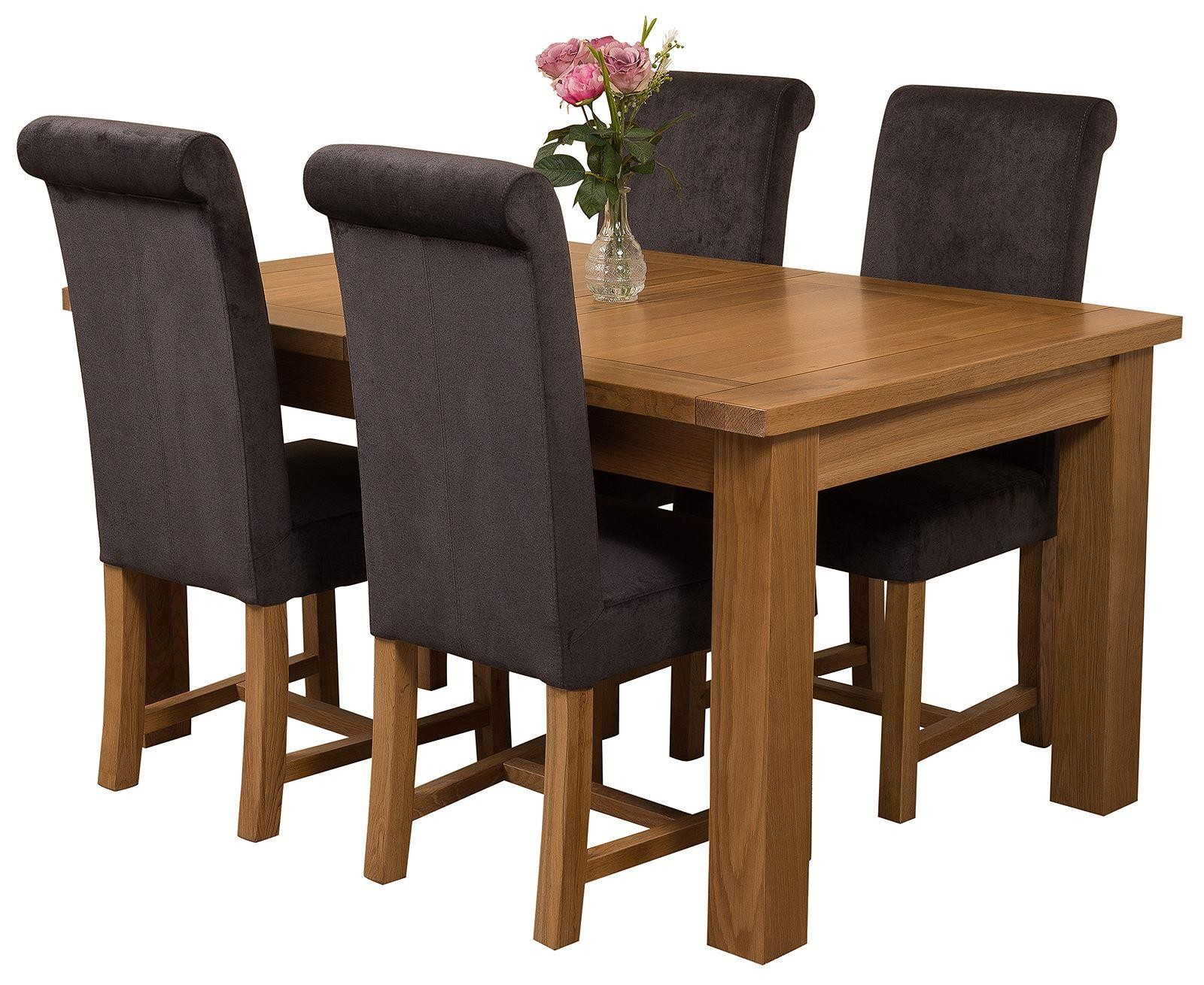 Seattle Solid Oak 150cm-210cm Extending Dining Table with 4 Washington Dining Chairs [Black Fabric]