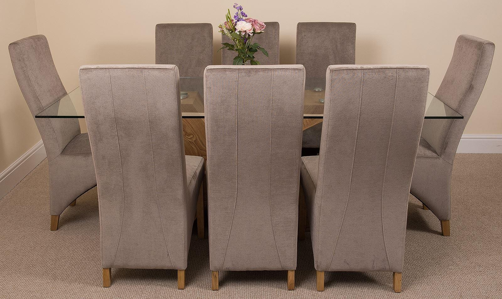 Valencia Oak 200cm Wood and Glass Dining Table with 8 Lola Dining Chairs [Grey Fabric]
