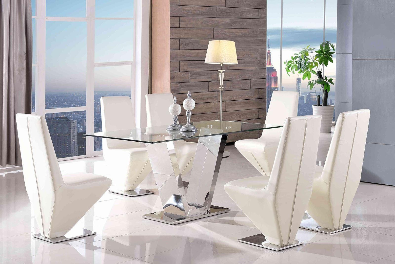 Valentino Glass and Steel Designer Dining Table with 4 Rita Designer Dining Chairs [Ivory]