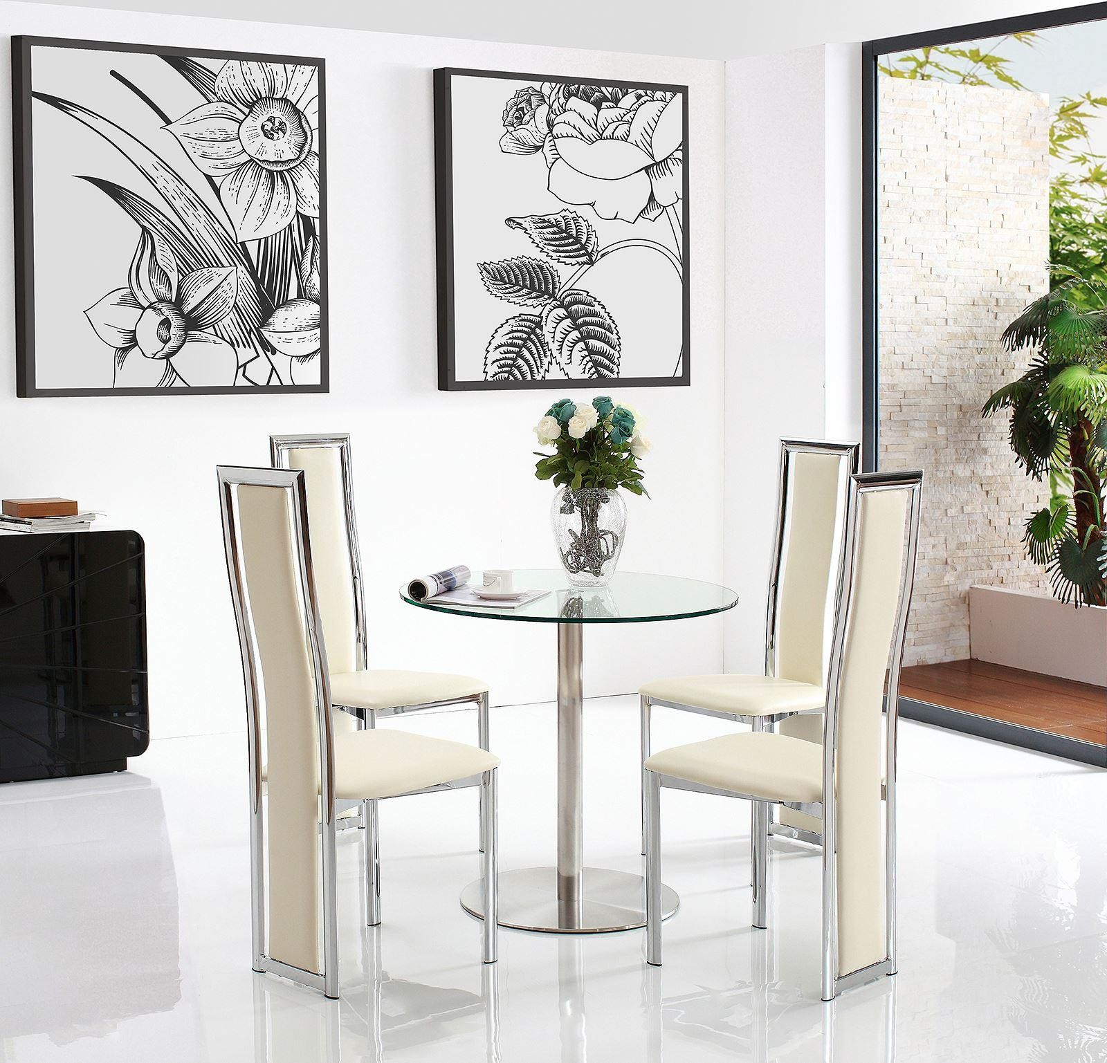 Target Round Glass And Steel 80cm Dining Table With 4 Elsa Designer Dining  Chairs [Ivory]