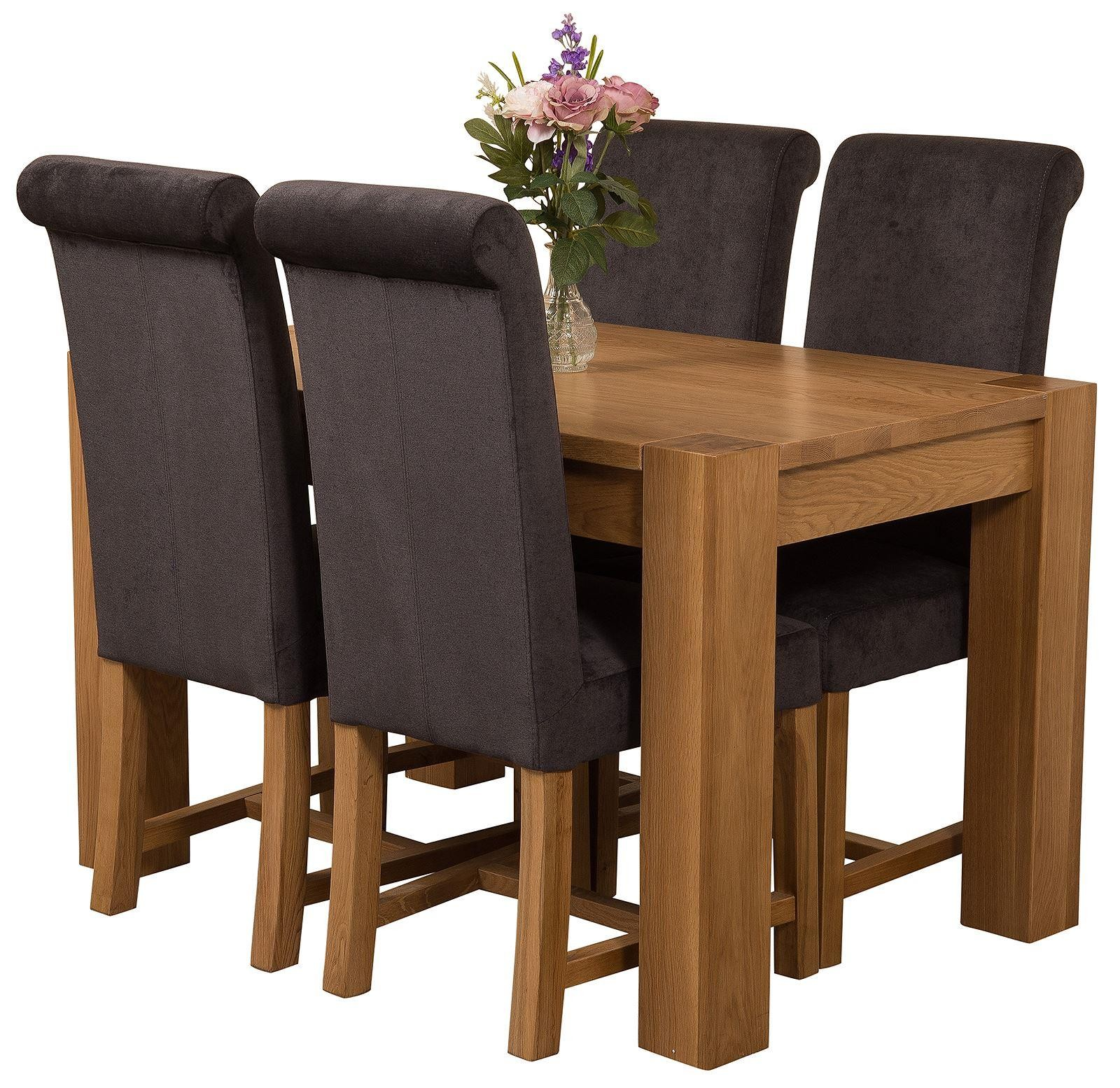 Kuba Solid Oak 125cm Dining Table with 4 Washington Dining Chairs [Black Fabric]