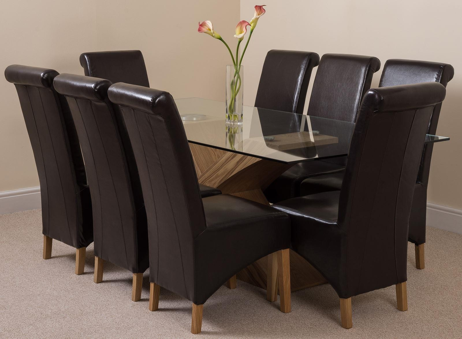 Valencia Oak 200cm Wood and Glass Dining Table with 8 Montana Dining Chairs [Brown Leather]