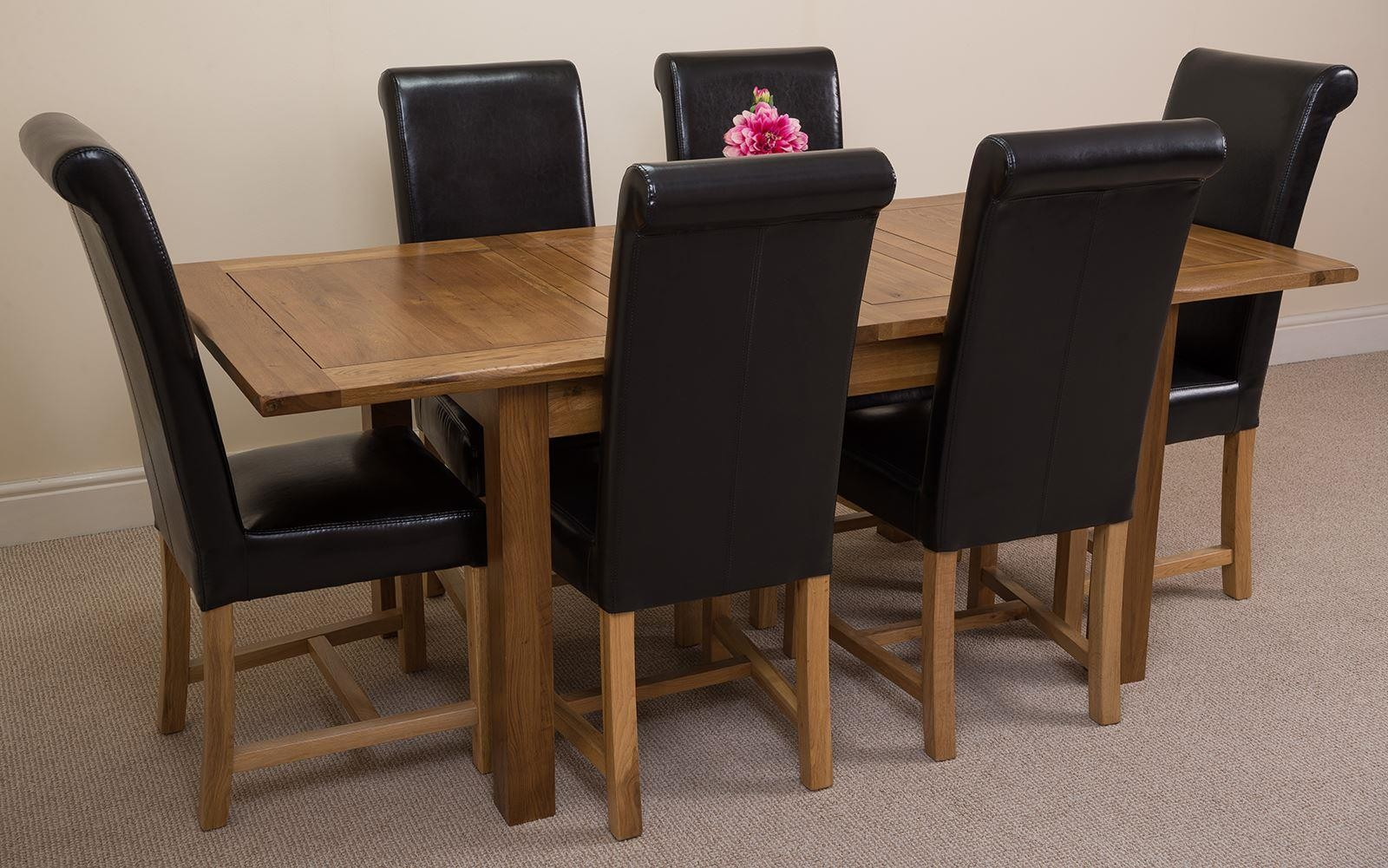 Cotswold Rustic Solid Oak 132cm-198cm Extending Farmhouse Dining Table with 6 Washington Dining Chairs [Burgundy Leather]