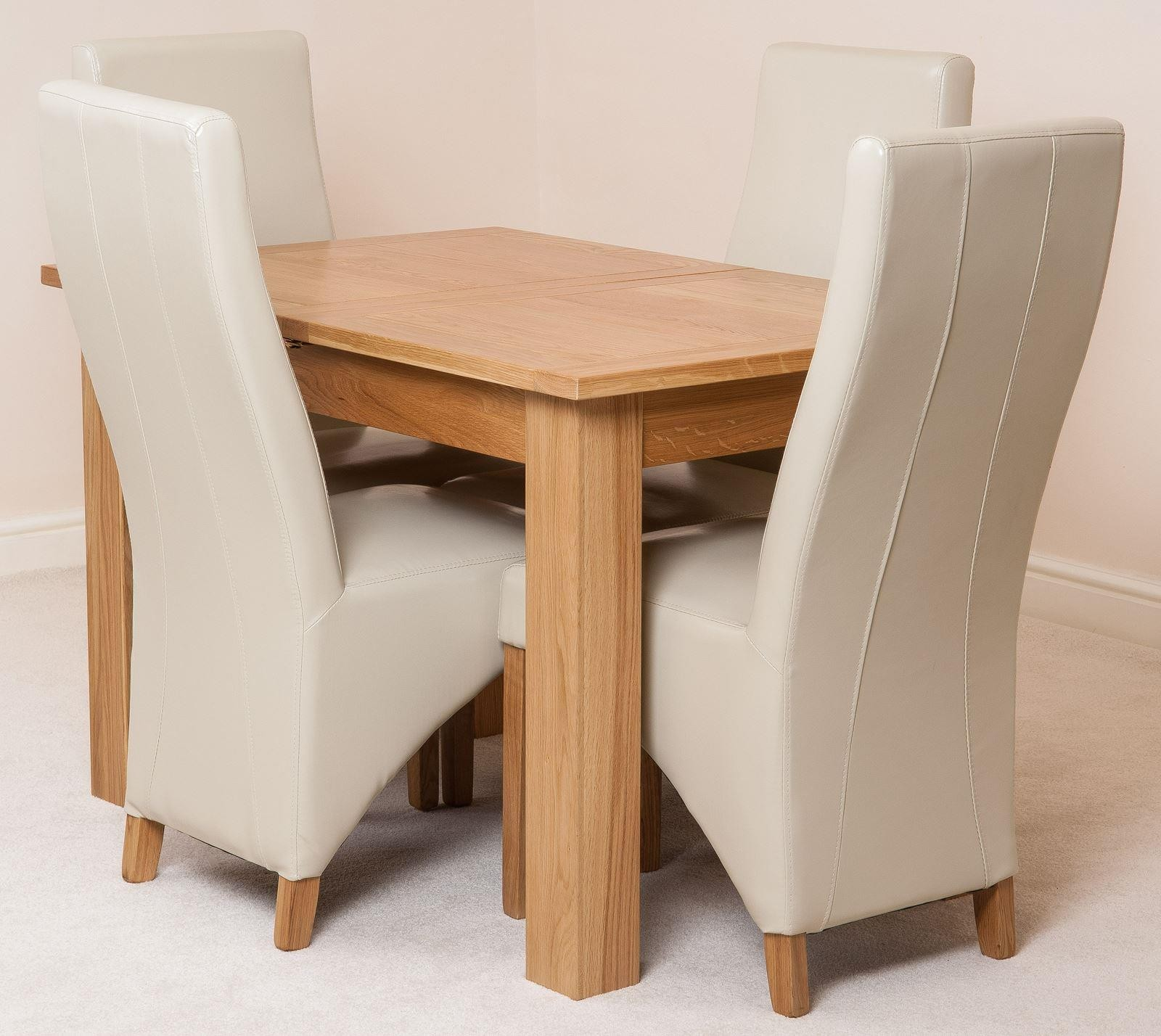 Hampton Solid Oak 120-160cm Extending Dining Table with 4 Lola Dining Chairs [Ivory Leather]
