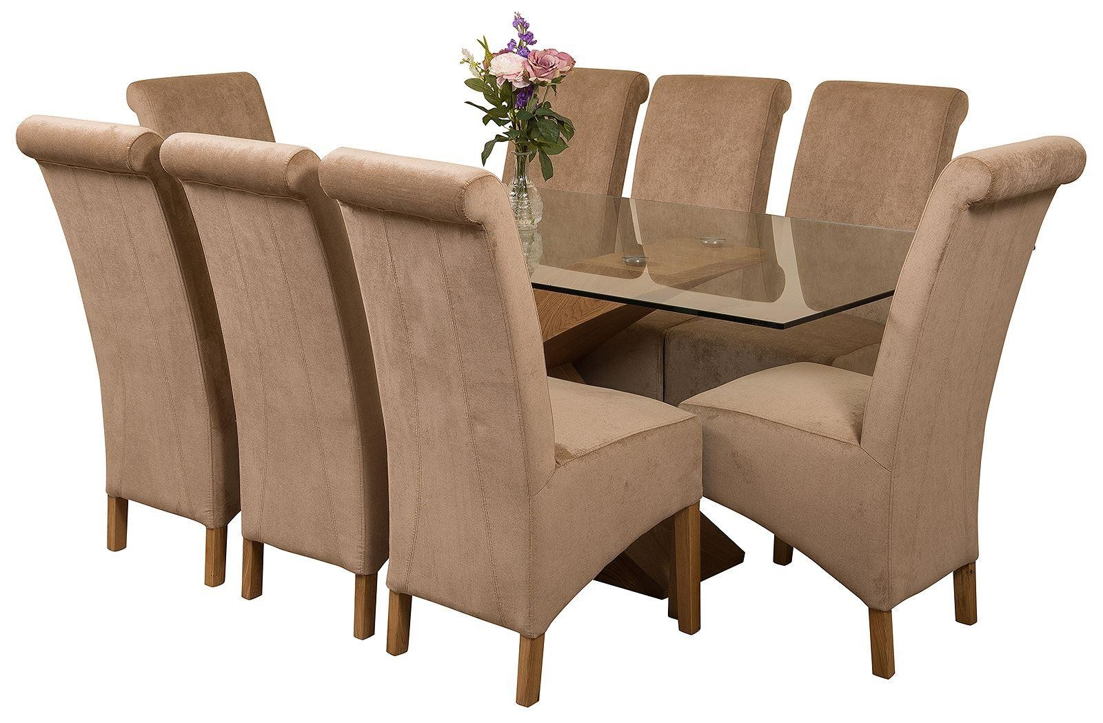 Valencia Oak 200cm Wood and Glass Dining Table with 8 Montana Dining Chairs [Beige Fabric]
