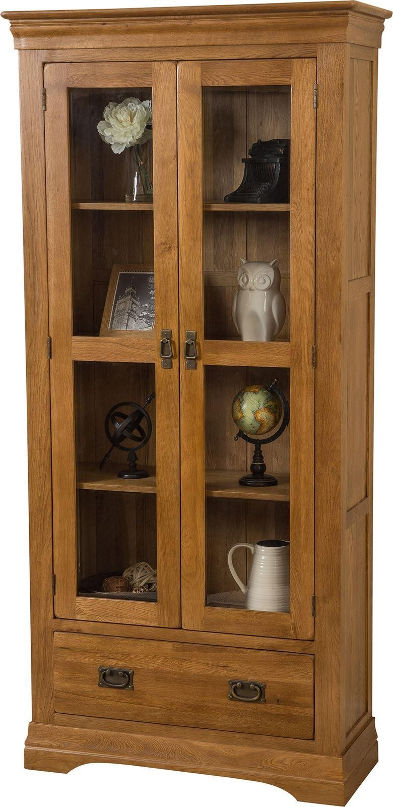 French Chateau Rustic Solid Oak Display Cabinet