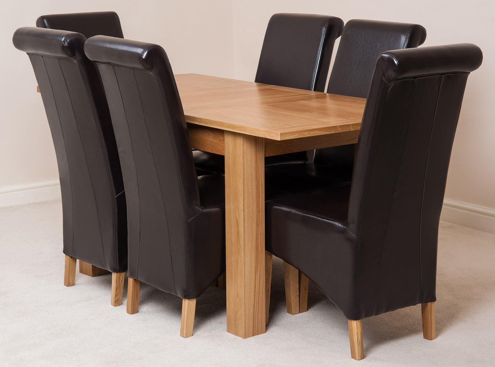 Hampton Solid Oak 120-160cm Extending Dining Table with 6 Montana Dining Chairs [Brown Leather]