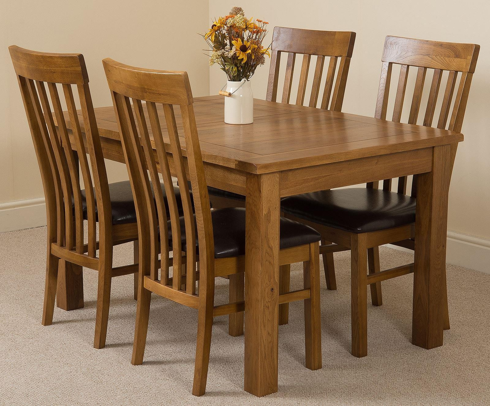 Cotswold Rustic Solid Oak 132cm-198cm Extending Farmhouse Dining Table with 4 Harvard Dining Chairs [Rustic Oak and Brown Leather]