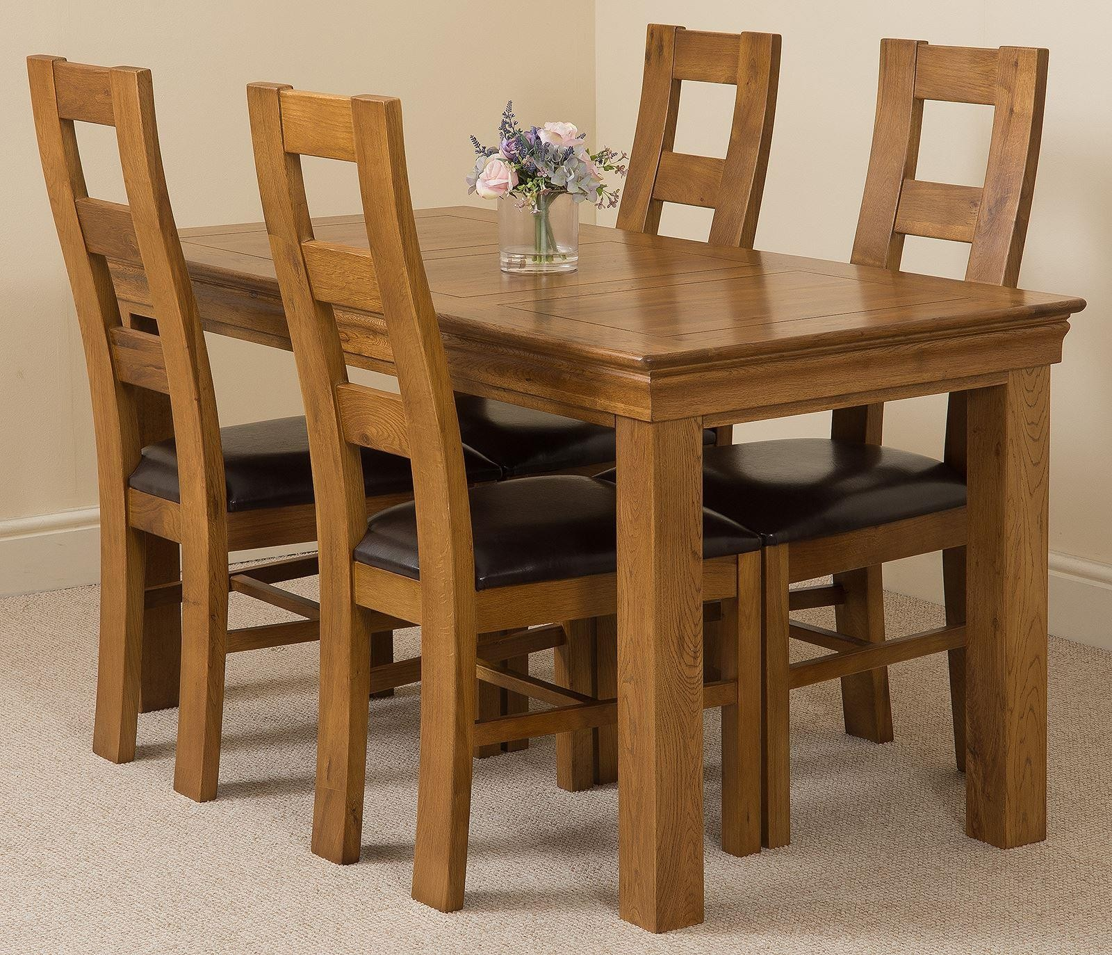 French Chateau Rustic Oak Dining Table With 4 Brown Yale Dining Chairs