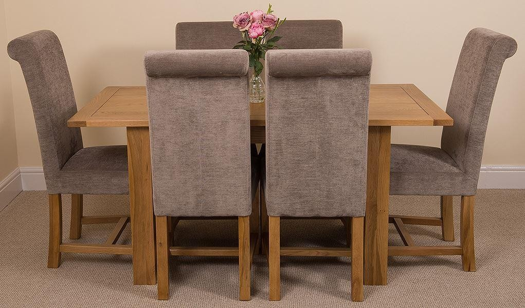 Hampton Solid Oak 120-160cm Extending Dining Table with 6 Washington Dining Chairs [Grey Fabric]