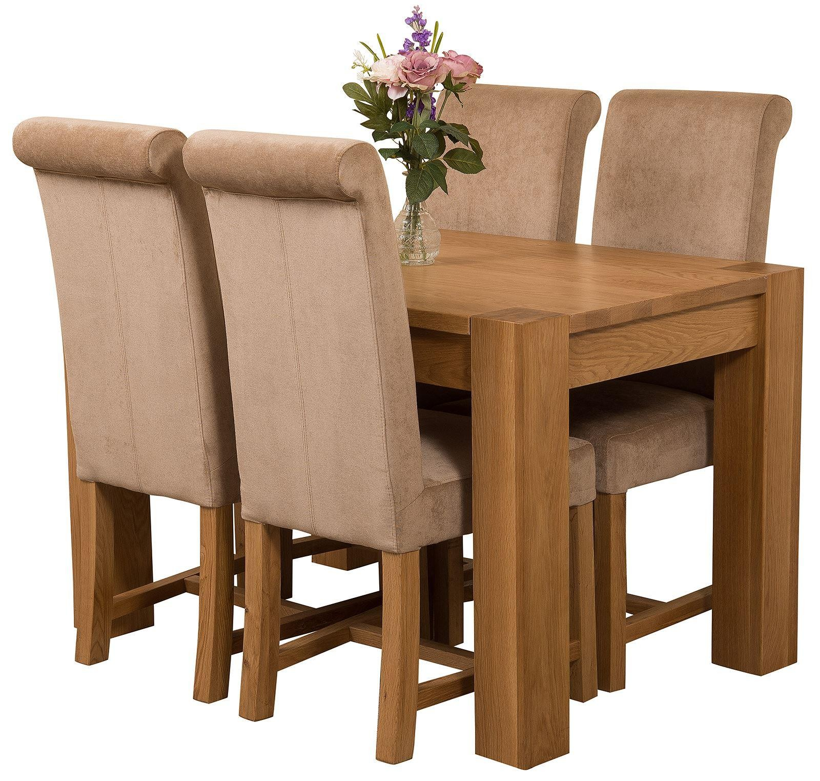 Kuba Solid Oak 125cm Dining Table with 4 Washington Dining Chairs [Beige Fabric]