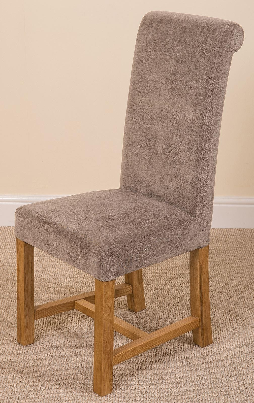 Washington Scroll Top Dining Chair [Grey Fabric]