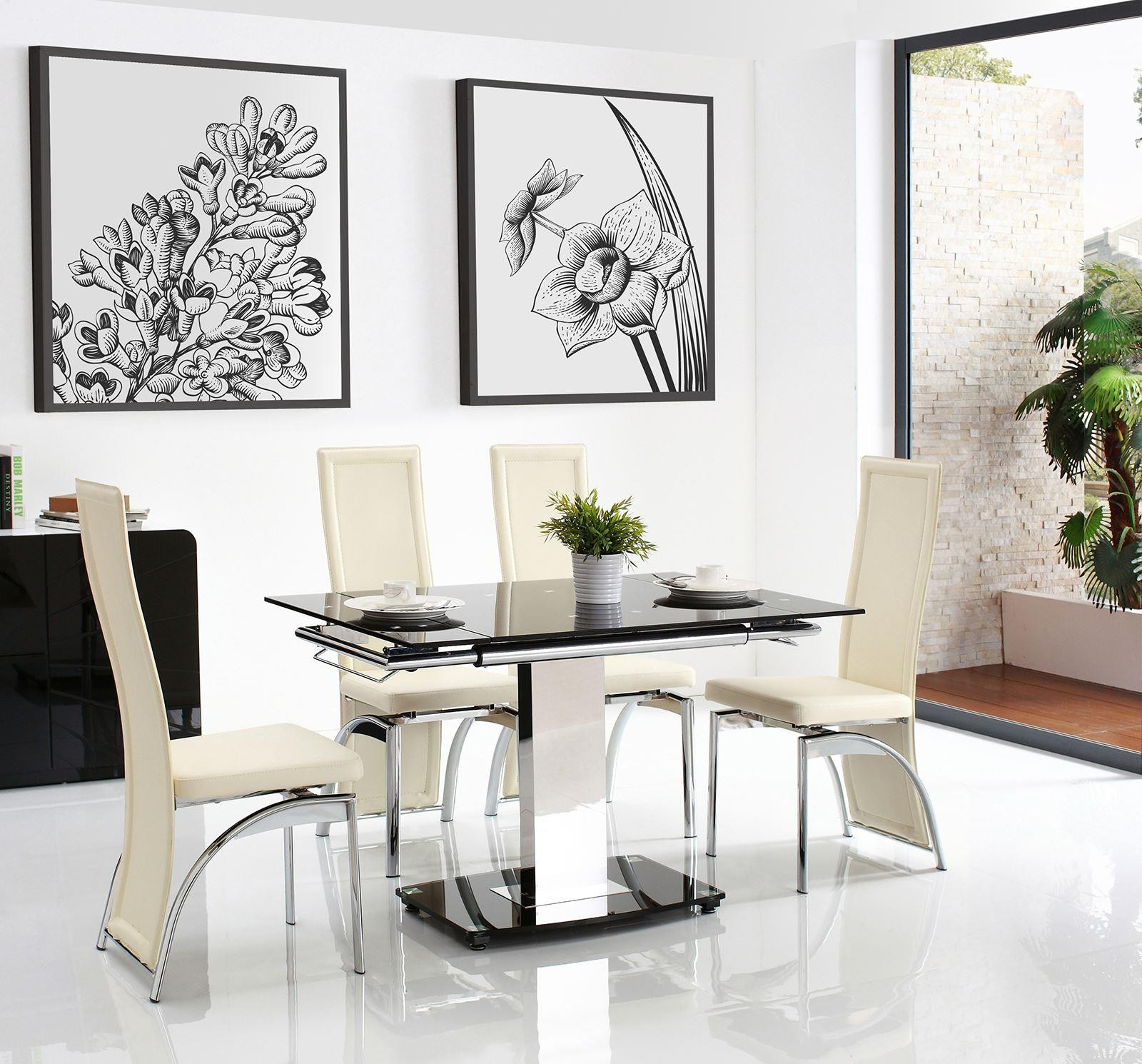 Enzo Extending Glass Dining Set with 5 Ivory Alisa Chairs