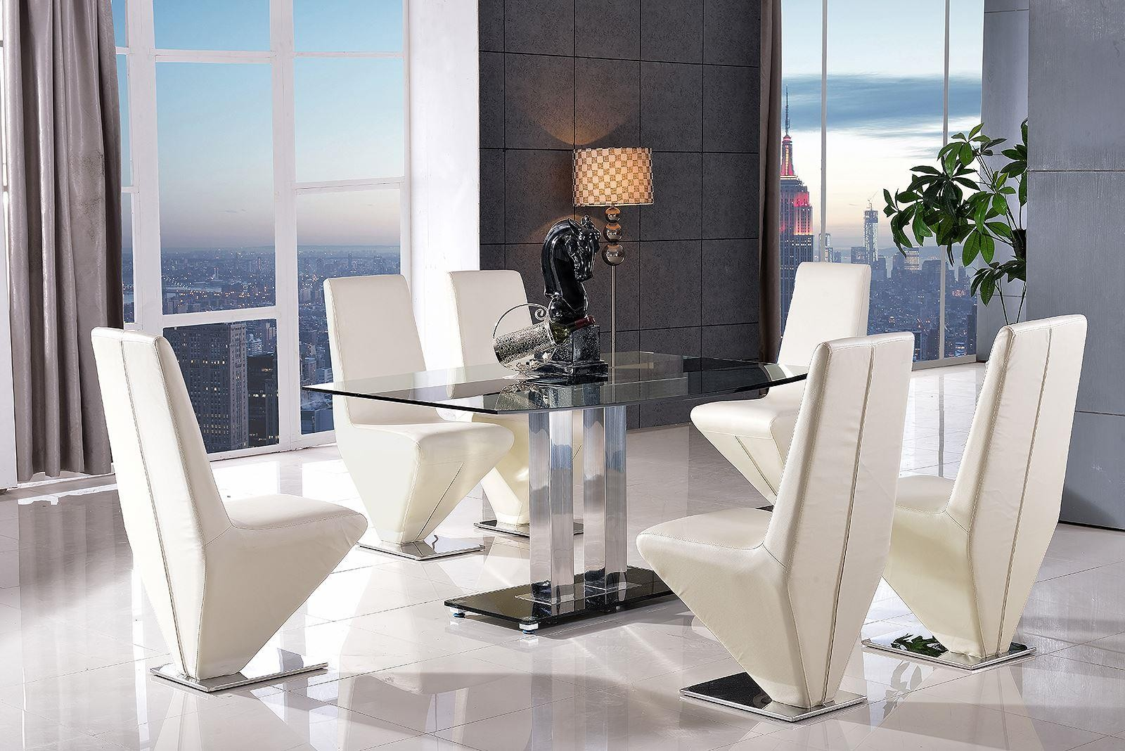 Roma Black Glass Dining Table with 4 Rita Designer Dining Chairs [Ivory]