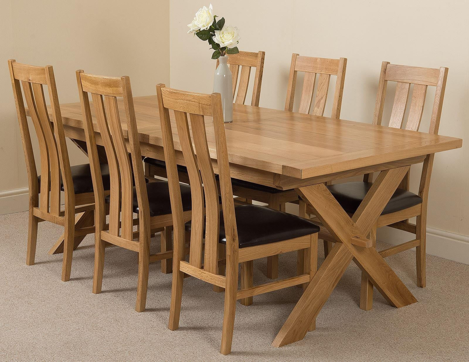 Vermont Solid Oak 200cm-240cm Crossed Leg Extending Dining Table with 6 Princeton Solid Oak Dining Chairs [Light Oak and Brown Leather]