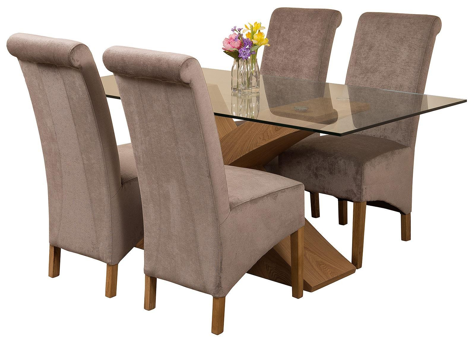Valencia Oak 160cm Wood and Glass Dining Table with 4 Montana Dining Chairs [Grey Fabric]