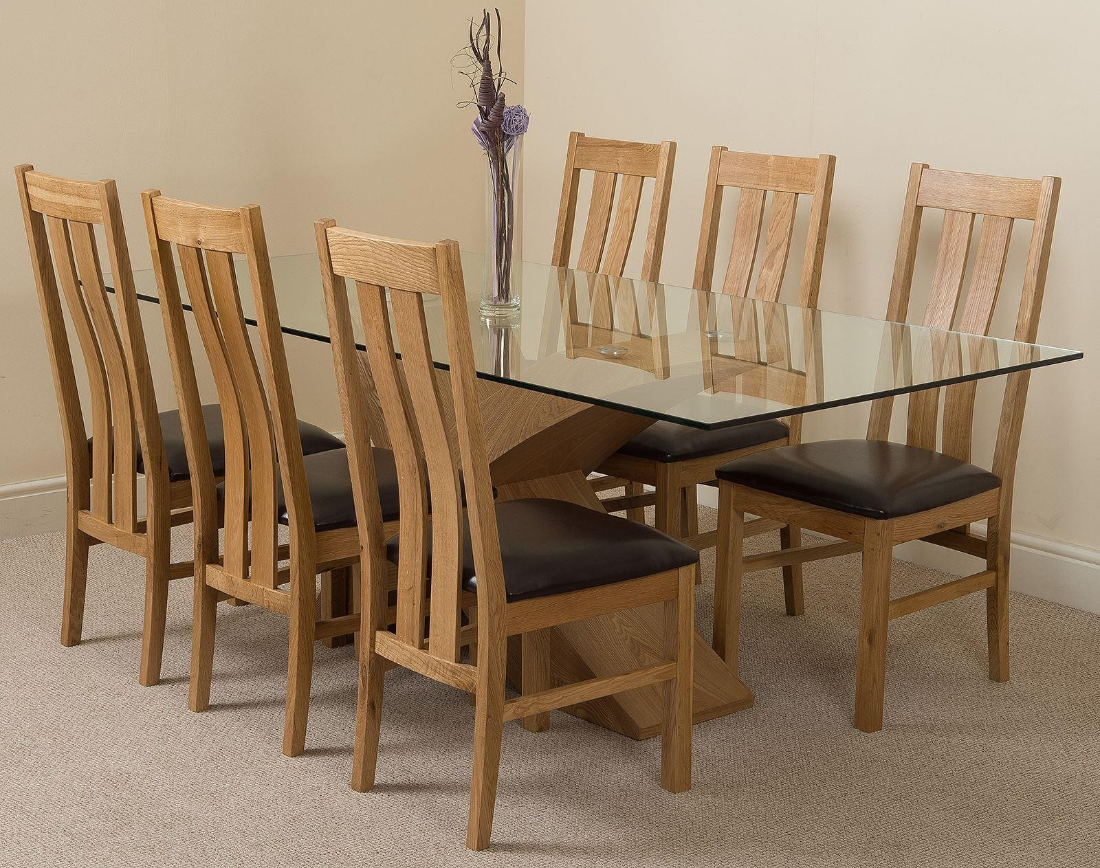 Valencia Oak 200cm Wood and Glass Dining Table with 6 Princeton Solid Oak Dining Chairs [Light Oak and Brown Leather]
