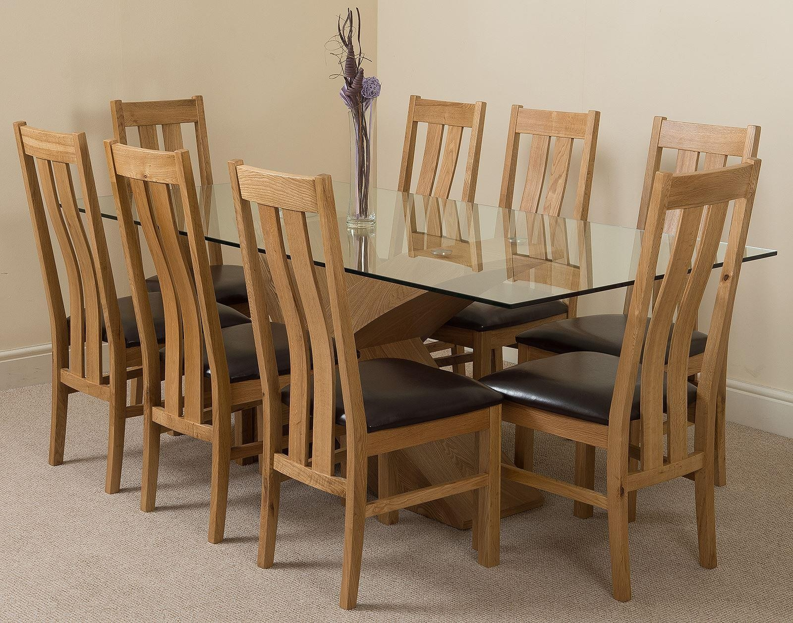 Valencia Oak 200cm Wood and Glass Dining Table with 8 Princeton Solid Oak Dining Chairs [Light Oak and Brown Leather]