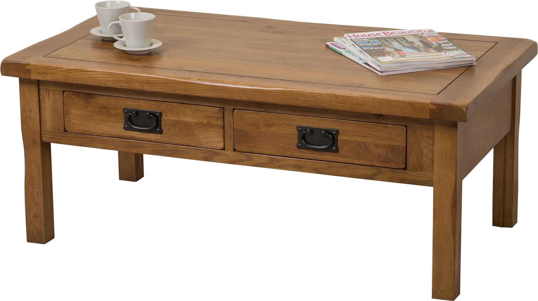 Cotswold Rustic Solid Oak Coffee Table [4 drawer]
