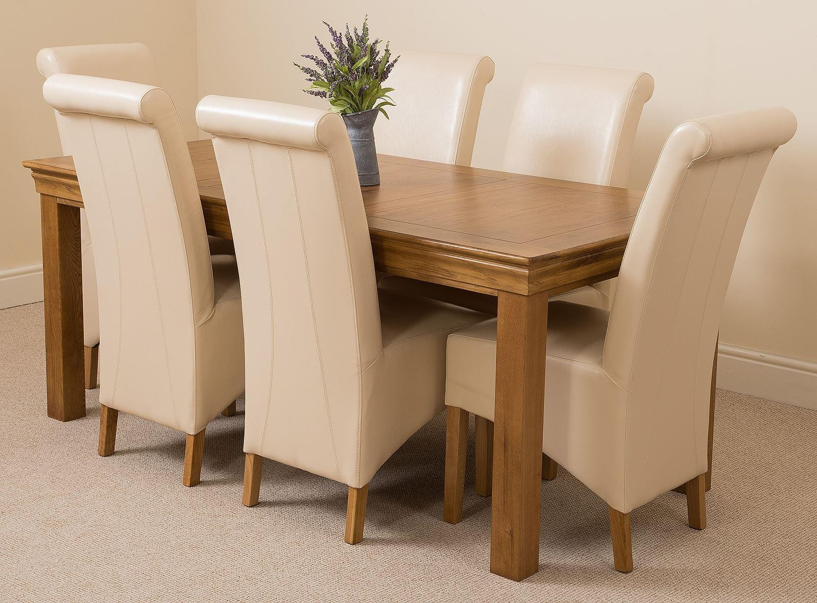 French Chateau Rustic Solid Oak 180cm Dining Table with 6 Montana Dining Chairs [Ivory Leather] & French Chateau Rustic Oak Dining Table with 6 Ivory Montana Dining ...