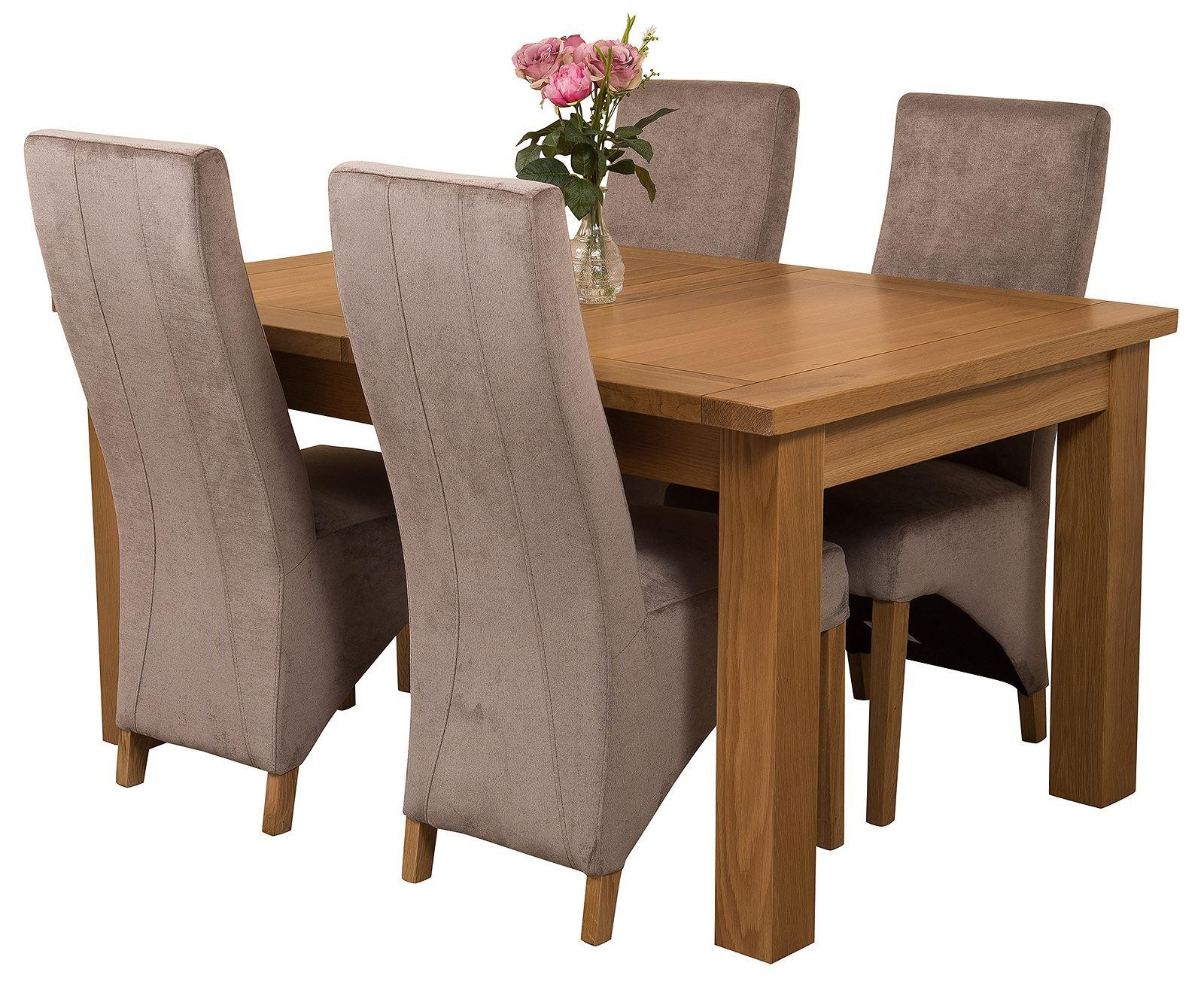 Seattle Solid Oak 150cm-210cm Extending Dining Table with 4 Lola Dining Chairs [Grey Fabric]