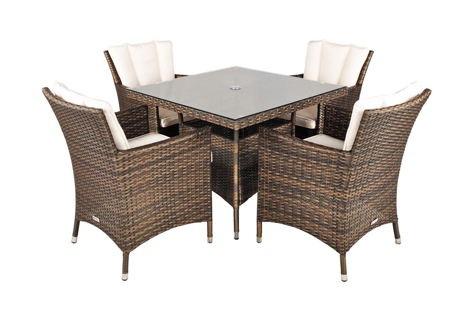 savannah rattan garden furniture 4 seat dining set - Rattan Garden Furniture 4 Seater