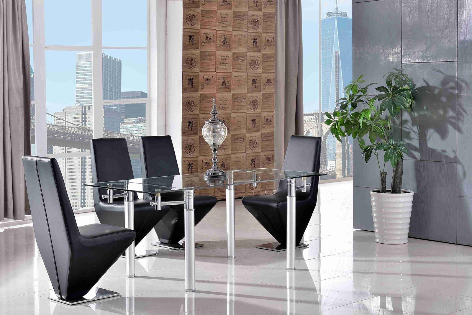 Verona Extending Glass Dining Table with 6 Rita Designer Dining Chairs [Black]