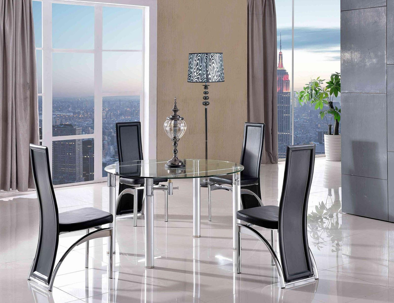 Torino Designer 75cm-120cm Extending Dining Table with 4 Alisa Dining Chairs [Black]
