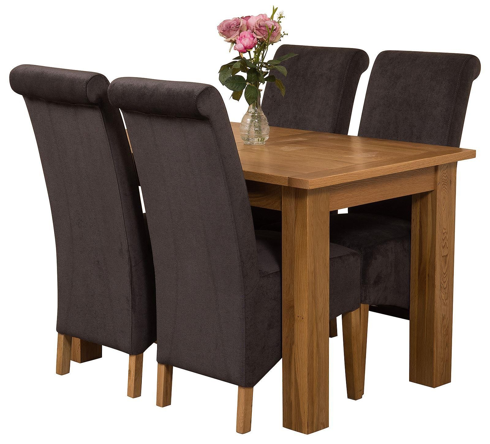Hampton Solid Oak 120-160cm Extending Dining Table with 4 Montana Dining Chairs [Black Fabric]